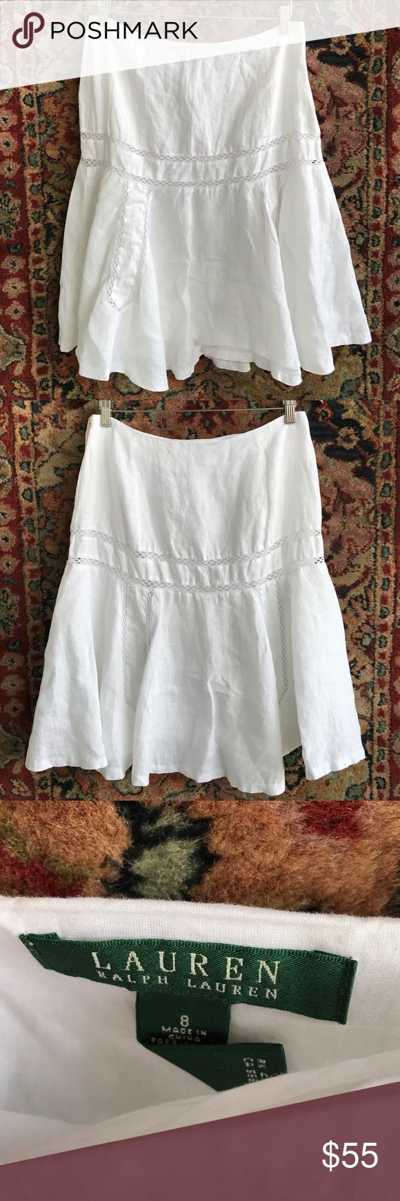 """Lauren Ralph Lauren Linen Trumpet Skirt Elegance and feels like luxury. Lace details create shape while Linen flows. Side zip and in excellent condition. 15.25"""" waist and 23.5"""" L Lauren Ralph Lauren Skirts A-Line or Full"""