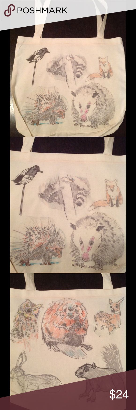 "New! Double sided woodland critters tote🐭🍂🌰🍄🐇 New no tag really cute with critters! Great to carry anywhere😝😝17.5x18"" cotton poly American Apparel Bags Totes"