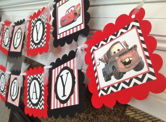 Cars Inspired Disney Happy Birthday Banner - Black Chevron & Red Stripes - McQueen 7 Mater - Party Pack Specials Available on Etsy, $28.00