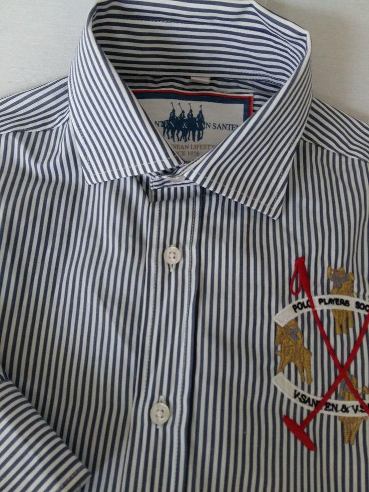 Van Santen & Van Santen Hemd Shirt Size M Long Sleeve Striped #VanSantenVanSanten #ButtonFront