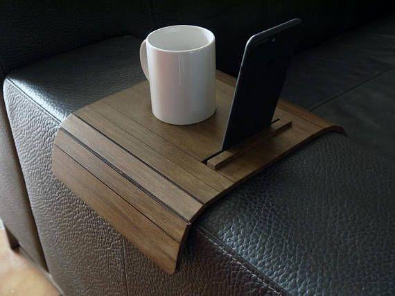 Laser cut wood sofa arm tabletv tray with standsofa arm