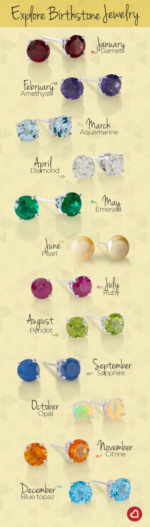 Birthstone jewelry is back and an important part of a well-rounded jewelry collection. Not only beautiful, birthstone jewelry is meaningful and significant too! Birthstones have existed for many cultures with their own calendars throughout history. Today, most recognize the birthstone list made official by Jewelers of America in 1912. Birthstone jewelry is the perfect personalized gift for you or someone you love! Find popular birthstone jewelry styles for each month at affordable prices!