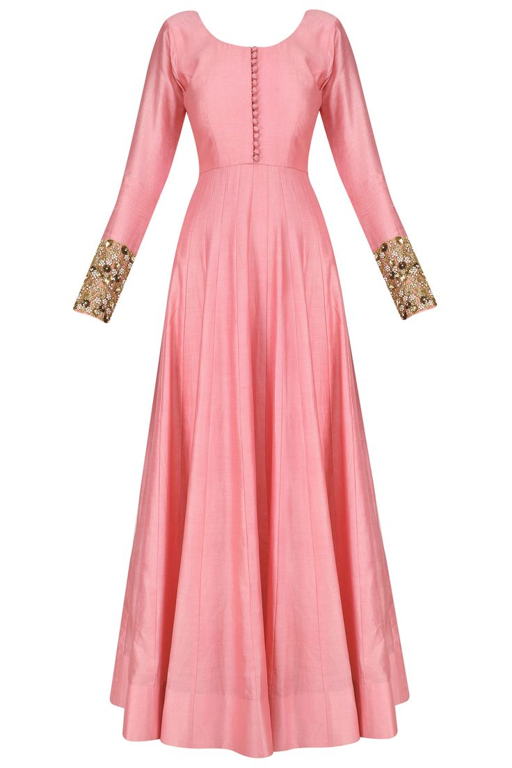 Pink anarkali set with floral embroidered dupatta available only at Pernia's Pop Up Shop.