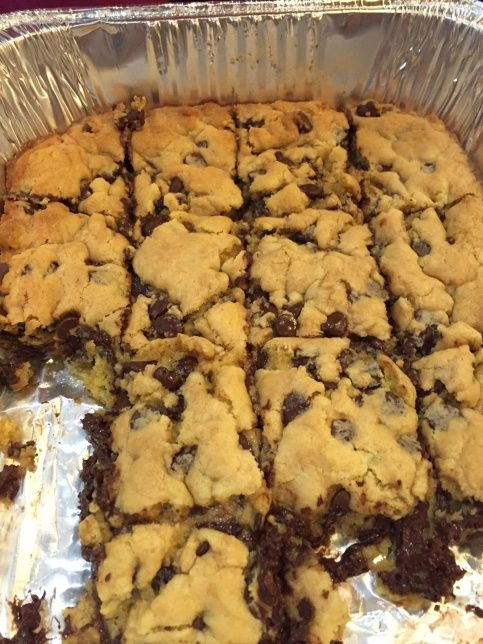 (use GF cake mix) 1 stick melted butter, Melted, 2 eggs 1 box yellow cake mix, choc chips. Mix. 9x13, 350, 20min  via Budget101