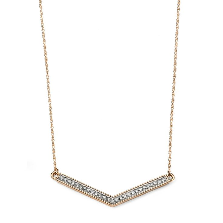Hallmarked 9ct Yellow Gold Chevron Bar Necklace with Pave Diamonds - This elegantly designed chain from the Elements Gold collection is expertly crafted from hallmarked 9ct yellow gold in an enchanting and everlasting style: http://ow.ly/Xy3A5