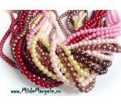 Perle din sticla sferice, mix de culori calde, diametru 6 mm, 20 grame