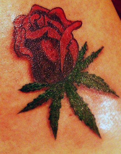Pot Leaf Tattoo For Girls Rose pot leaf tattoo ideas
