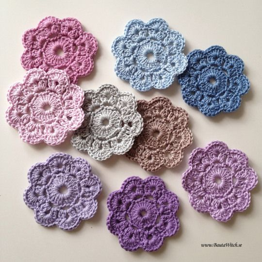 Maybelle Flowers  Photopattern in Swedish http://bautawitch.se/2013/09/01/diy-virkad-maybelle-blomma/