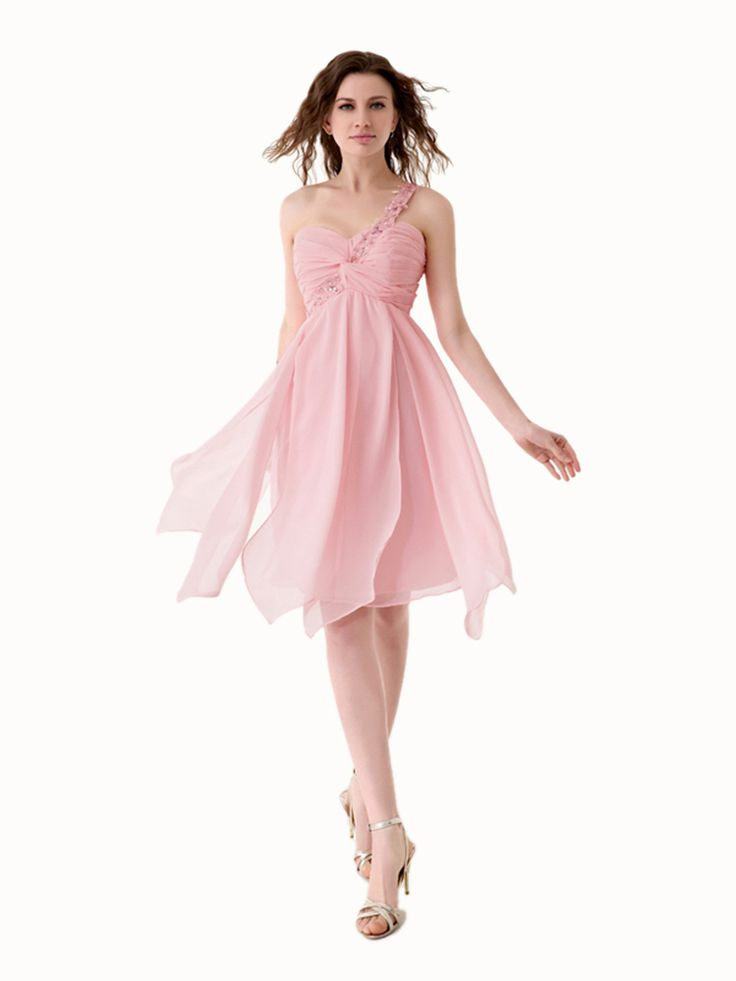 Fashionable A-line One Shoulder Sleeveless Knee-length Pink Chiffon Prom Dress IS0124
