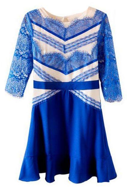 ROMWE   Lace Panel Flouncing Blue Dress, The Latest Street Fashion