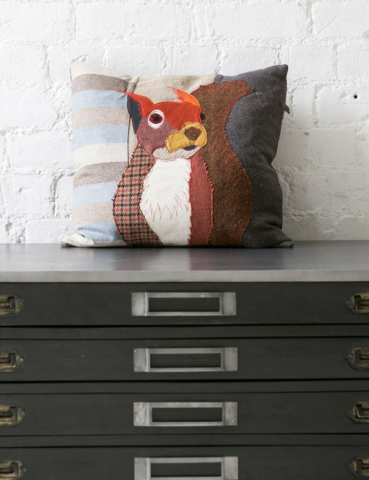 Squirrel Applique Cushion at Rose and Grey