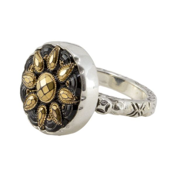 Elizabeth Ngo - Antique Button Ring - Black and Gold - Rings created on stirling silver from gorgeous European buttons from the Victorian/Edwardian era in Europe (approx 1880-1930s) available from www.seasonsemporium.com