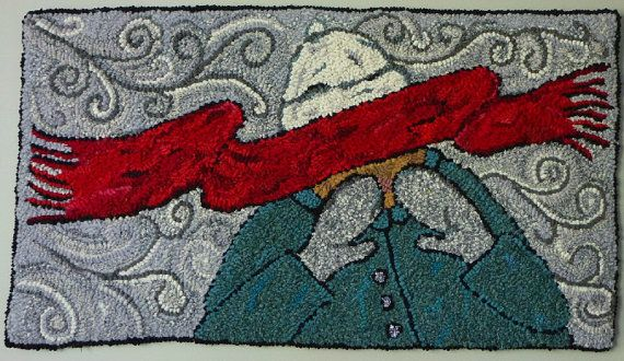 FREE SHIPPING Original Hand Hooked Rug 16 x 29 by LoopsByC on Etsy