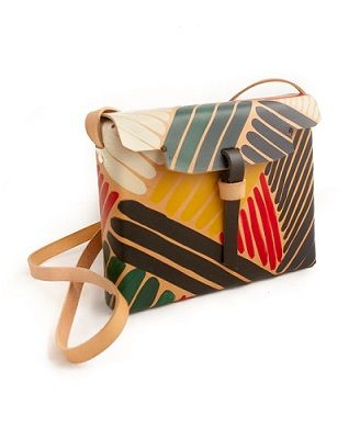 Selva Stripes Bag. Each Drawing bag is specially hand-drawn and painted over natural leather in an artisanal fashion, making the piece one of a kind. Available at Ryze Project. Made in Galicia, Spain.