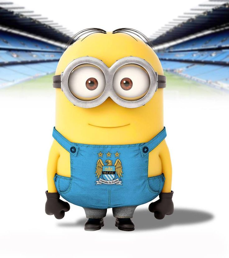 Minion-Manchester-City. My boyfriend's favorite soccer team and my favorite little animated caricature.