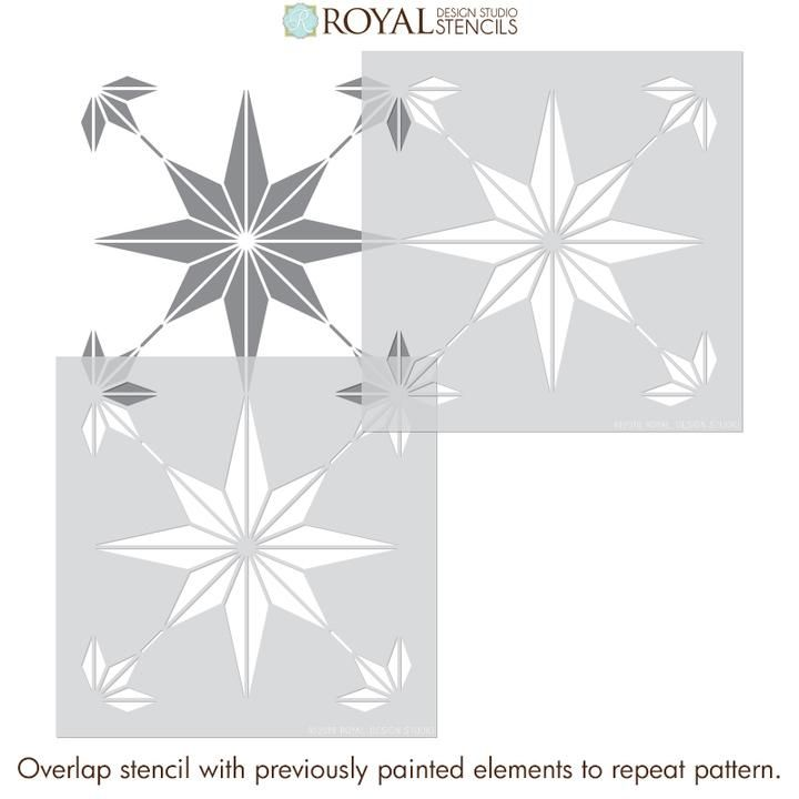 You Re A Star Tile Stencil In 2020 Stenciled Floor Modern