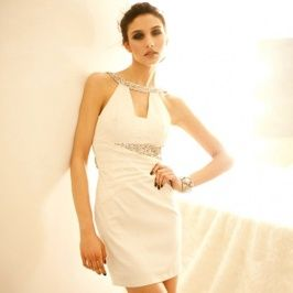 Collar Necklace Gorgeous Rhinestone Necklace Collar Hollow Party Dress White Discount Online Shopping