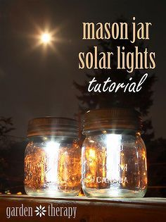 mason jar solar lights, crafts, mason jars, outdoor living. Many other uses for jars here...