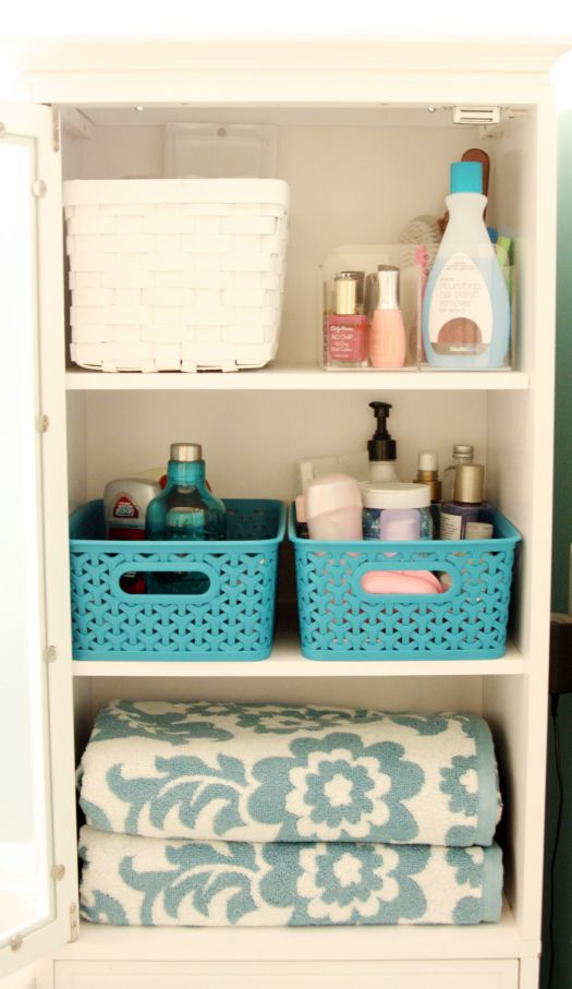 his/her baskets IHeart Organizing: Our Newly Organized Bathroom Bliss