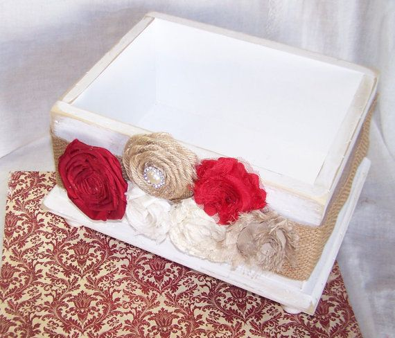 Wedding CARD BOX Rustic Country Christmas Dark Red Burlap And