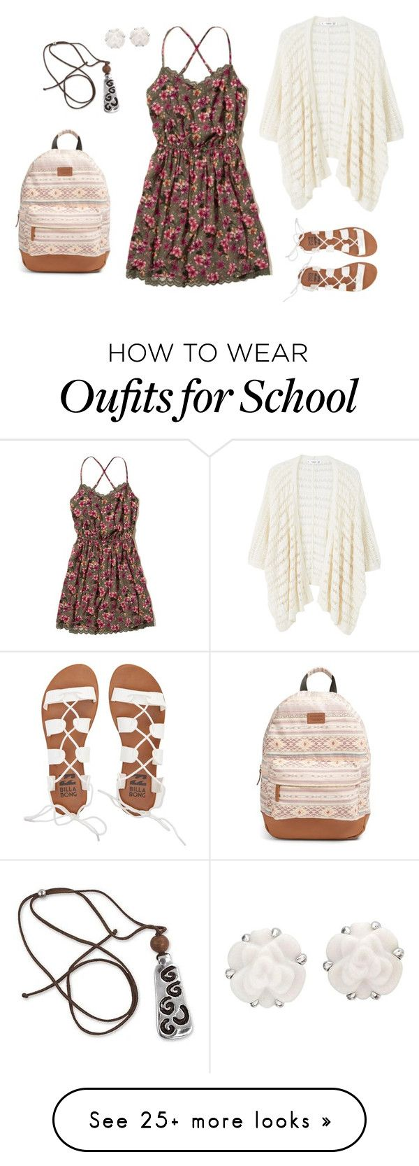 """First day of school"" by hjpnosser on Polyvore featuring Hollister Co., MANGO, Billabong, Rip Curl, NOVICA and Chanel"