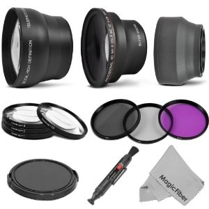 Professional Lens Kit for CANON Rebel (T3i T3 T2i T1i XT XTi XSi), CANON EOS (1100D 600D 550D 500D 450D 400D 350D 300D 60D) - Includes: 58mm .43x Super Wide Angle & 2.2x Telephoto High Definition Lenses + Filter Kit (UV, Polarizing, Fluorescent) + Macro Close-Up Filter Set (+1 +2 +4 +10) + Collapsible Lens Hood + Snap On Lens Cap + Lens Cleaning Pen + MagicFiber Microfiber Cleaning Cloth #PSEWishlist