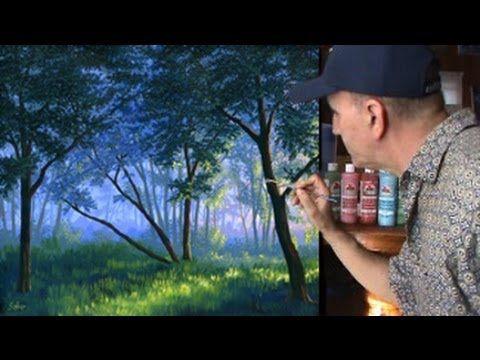 Hoe wordt mist schilderen in het bos met behulp van acryl op doek