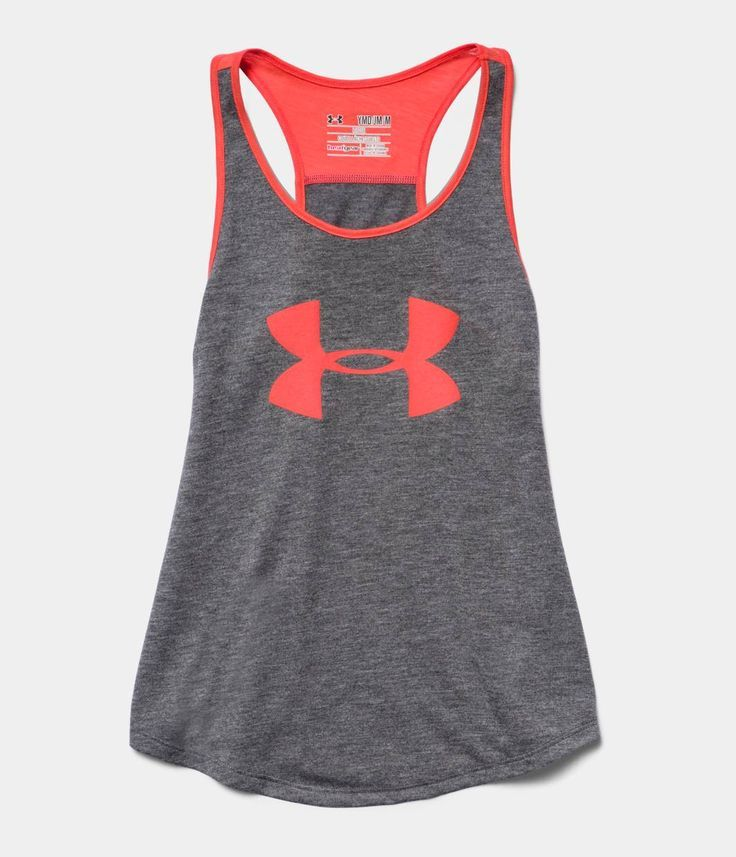 Grey and neon orange under armour tang top