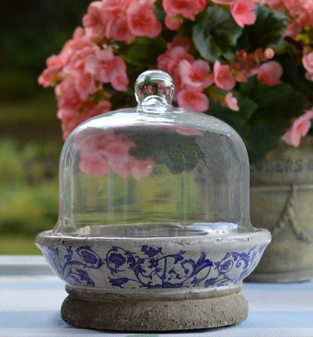 Cloche with Blue Floral Ceramic Base – Golden Hill Studio