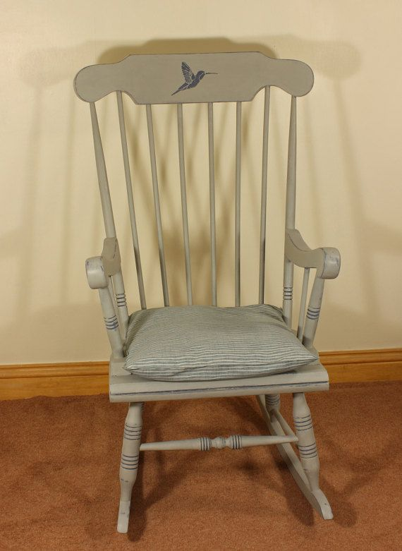a vintage rocking chair hand painted in annie sloan paris grey and old violet embellished - Wooden Rocking Chair Cushions