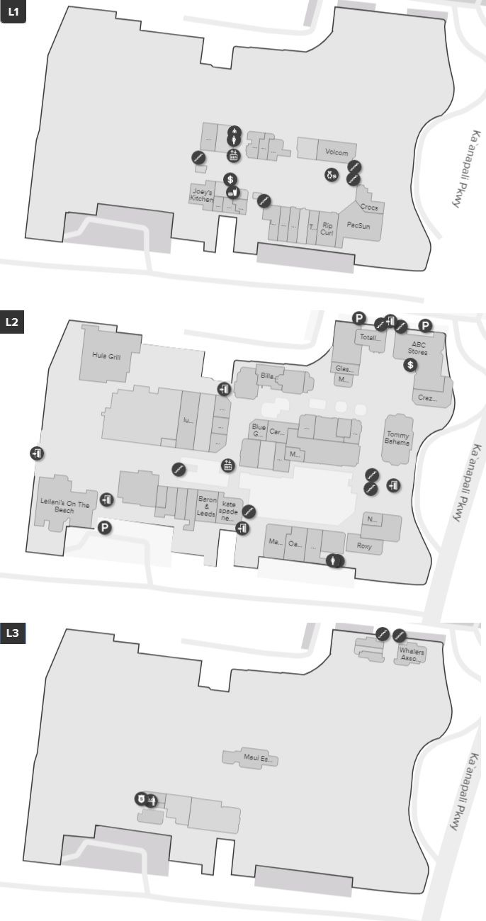 Whalers Village shopping plan | Mall maps | Mall, Store, Hawaii