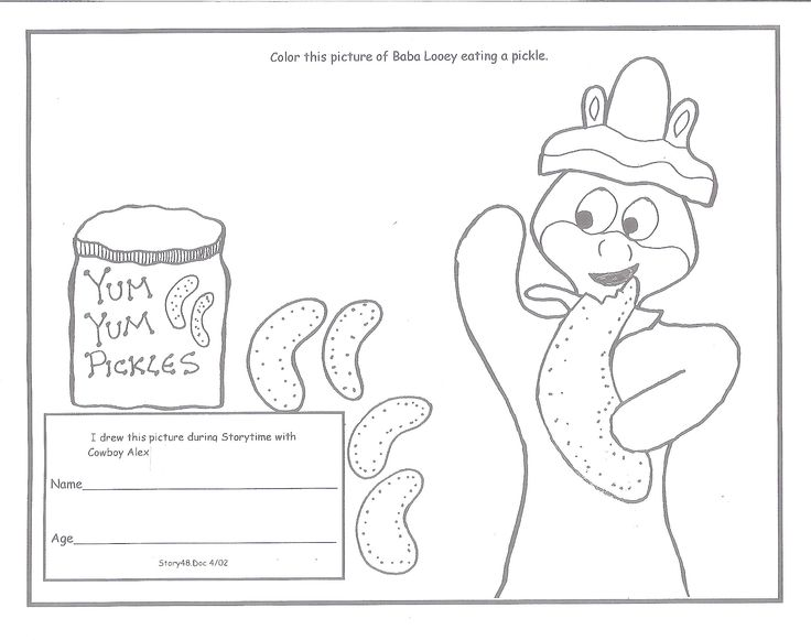 Storytime Coloring Picture 72515 Pickle Party And Crafts With Cowboy Alex