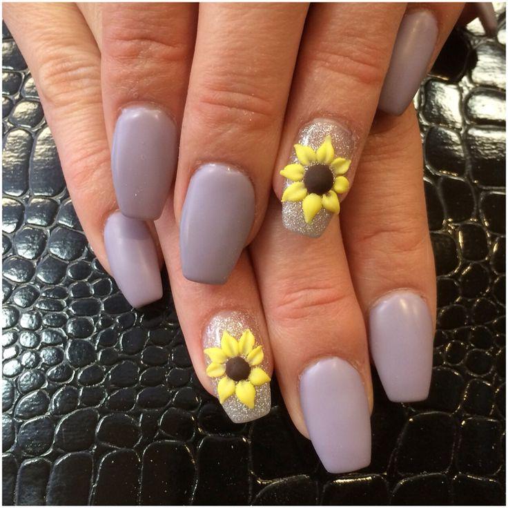 3d sunflowers nails.