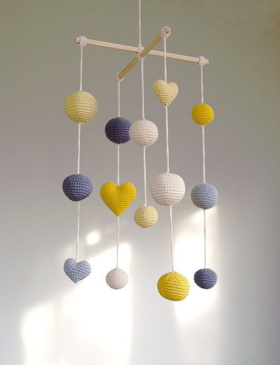Crochet Balls/Hearts Baby Mobile - Grey/Yellow/Pale Yellow Ball's Mobile(5-color mobile) - Boys/Girls room decoration on Etsy, $66.00