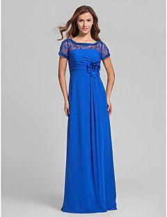 lanting vloer-length chiffon bruidsmeisje jurk - royal blue grote maten / tenger a-lijn vierkante