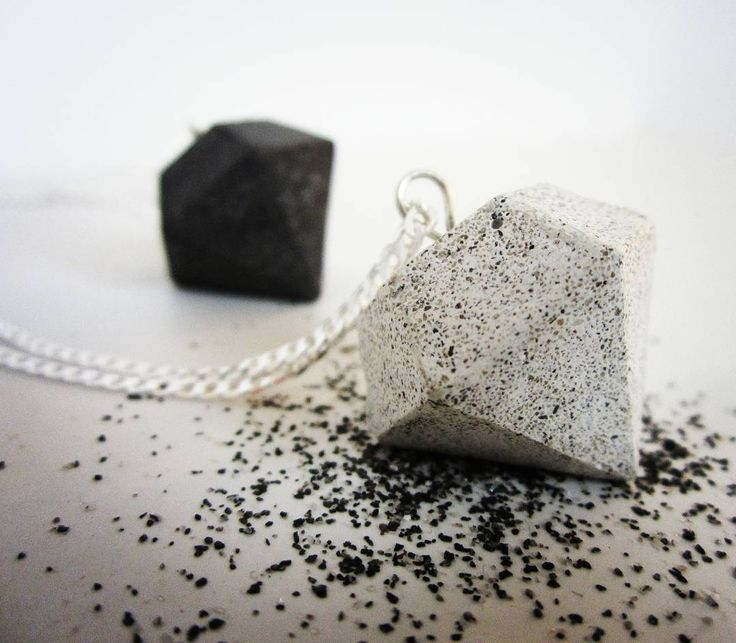 Grinded white cement diamond shape necklace with fine antracite powder. Concrete is amazing material.