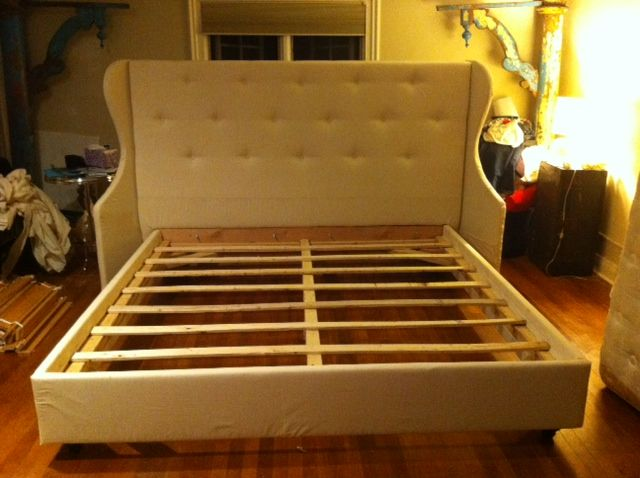 DIY upholstered bed & bed frame from scratch - 4 part tutorial (this is part 4 but has links to the other 3 parts) - from Making a House a Home