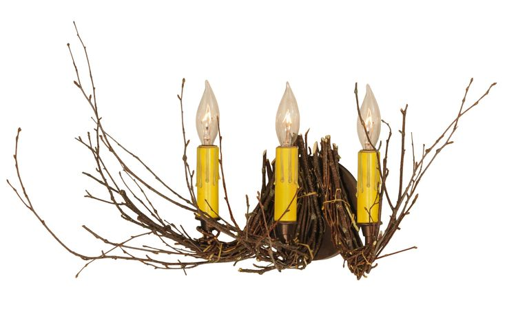 16 Inch W Twigs 3 Lt Wall Sconce - 16 Inch W Twigs 3 Lt Wall Sconce Theme: RUSTIC LODGE Product Family: Twigs Product Type: WALL SCONCES Product Application: THREE LIGHT Color: MAHOGANY BRONZE Bulb Type: CNDL Bulb Quantity: 3 Bulb Wattage: 60 Product Dimensions: 11H x 16W x 11DPackage Dimensions: NABoxed Weight: 1 lbsDim Weight: 24 lbsOversized Shipping Reference: NAIMPORTANT NOTE: Every Meyda Tiffany item is a unique handcrafted work of art. Natural variations in the wide array of materials…