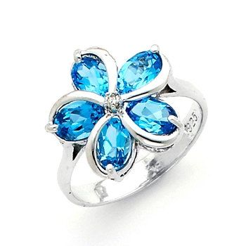 Genuine Blue Topaz & .02 Diamond ctw. Plumeria by GianniDeloro, $92.00