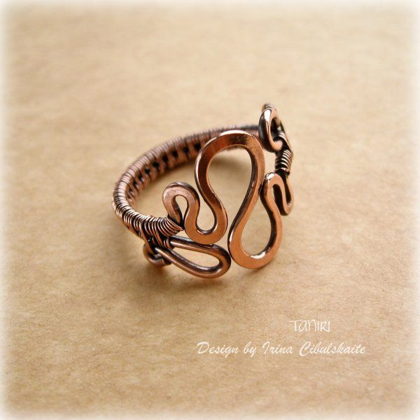 """Copper Ring """"Wave"""" 