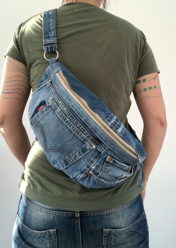 Repurposed Levis jeans, denim crossbody bag
