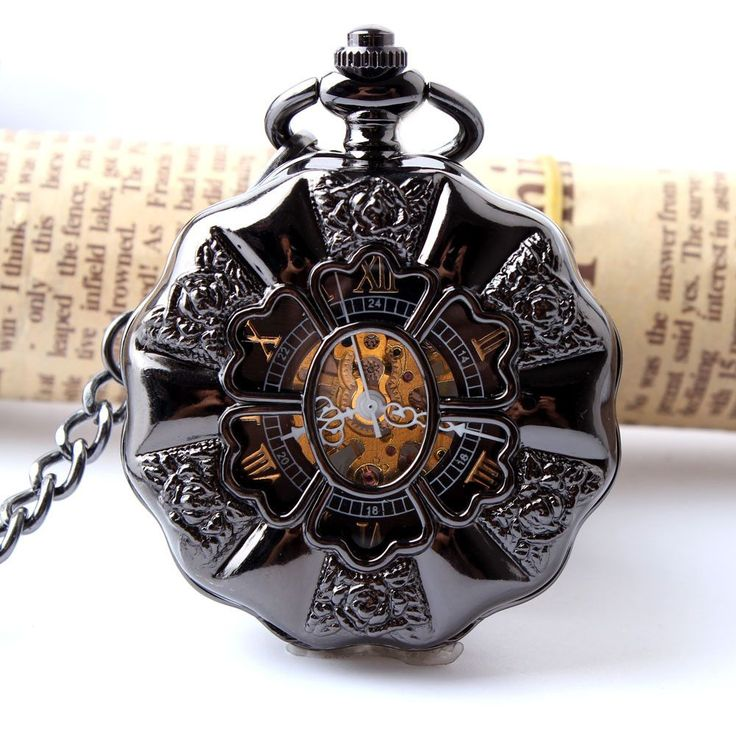 Black Full Steel Luminous Mechanical Pocket Watch Steampunk Vintage Hollow Analog Skeleton Hand Winding Mechanical Pocket Watch