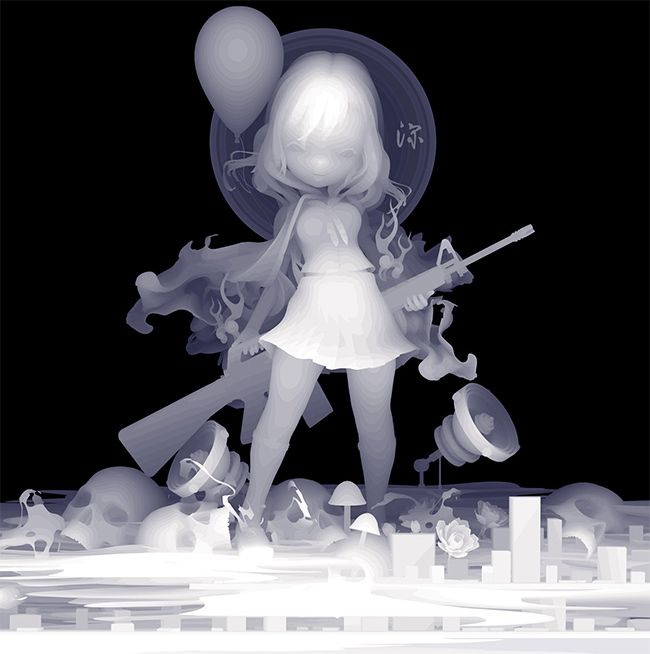 'Ms. Deep' by Kazuki Takamatsu. Find out more about Kazuki and see more of his awesome art at wowxwow.com (painting, narrative, manga, pop culture, japan, japanese, symbolism, monochrome)