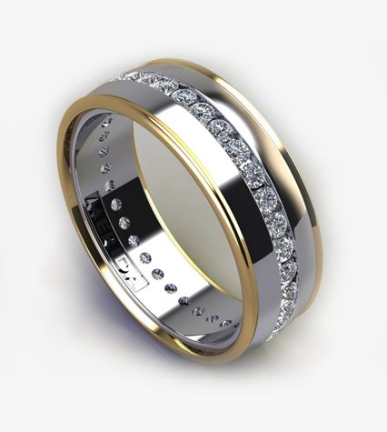 Mens Wedding Band With Tcw Channel Set Diamonds In White Gold Yellow Trim I Love This Ring