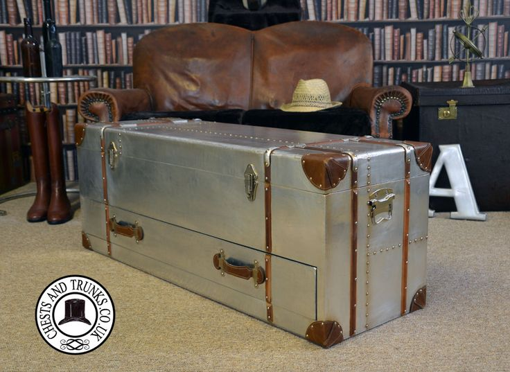 Vintage Large Metal Trunk With Drawer ⋆ Chests & Trunks