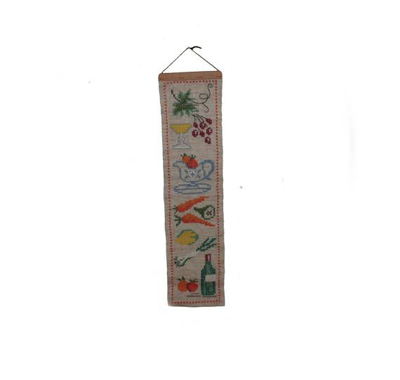 Lovely vintage retro 60s textile artwork: wall hanging