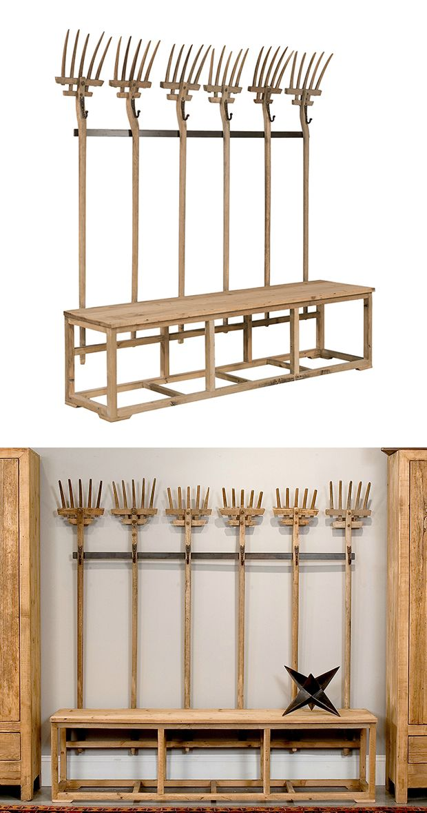 The Harvest Bench is an example of spectacularly clever theme design, and we fell for it the minute we saw it. Visualize this fabulous piece taking up center space in a large hallway or sitting room, o...  Find the Harvest Bench, as seen in the A Rustic Cottage Collection at http://dotandbo.com/collections/a-rustic-cottage?utm_source=pinterest&utm_medium=organic&db_sku=113874
