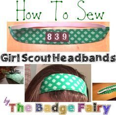 Adorable girl scout headbands in four prints - with troop number!