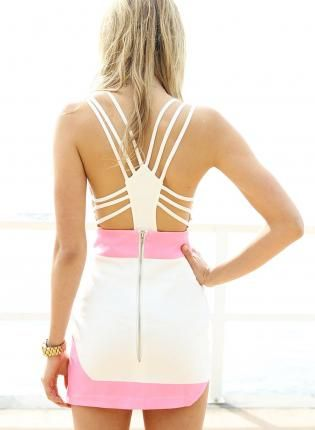 White Sleeveless Bustier Leotard with Strappy Open Back,  Top, open back  cutout leotard, Chic