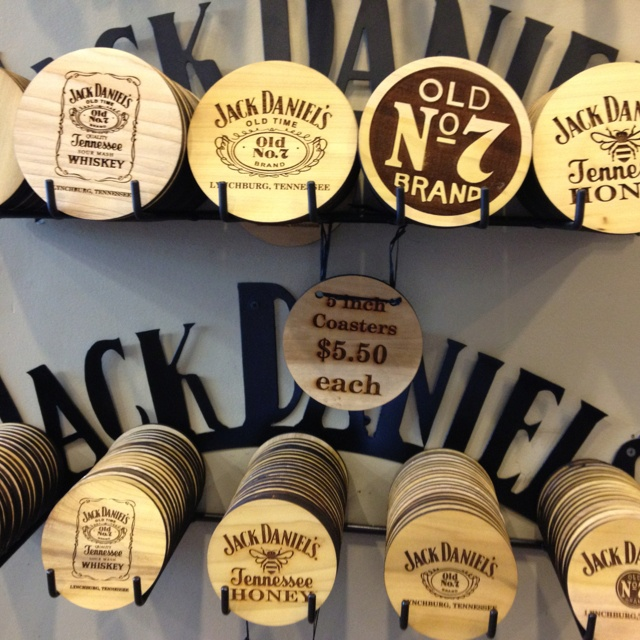 Jack Daniels coasters...Large ($5.00) and XL (5.50) Call the Lynchburg, TN General Store...888-221-5225 Also cute smaller version that are shot glass coasters only $2.00 each!
